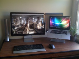 One Mac laptop connected to a Mac display